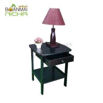 Baanmainicha โต๊ะหัวเตียง โต๊ะไม้ โต๊ะวางของหัวเตียง ไม้ยางพารา (มีลิ้นชัก)  Size : 48x38x56 cm.
