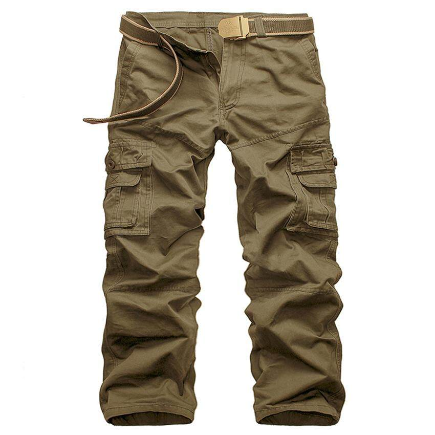 Casual Men Pants Slim Fit Multi-Pocket Cargo Trousers No Belt