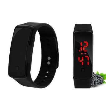 Unisex ดิจิตอล LED อัตโนมัติซิลิโคนนาฬิกาข้อมืออะนาล็อกควอตซ์นาฬิกาของขวัญ - INTL-