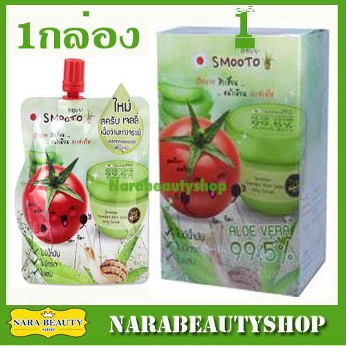 เปรียบเทียบราคา Smooto Tomato Aloe Snail Jelly Scrub สมูทโตะ โทเมโท อโล สเนล เจลลี่ สครับ เพื่อผิวเนียนกระจ่างใส 1 กล่อง (4ชิ้น/กล่อง) ครีมหน้าใสแบบเกาหลี