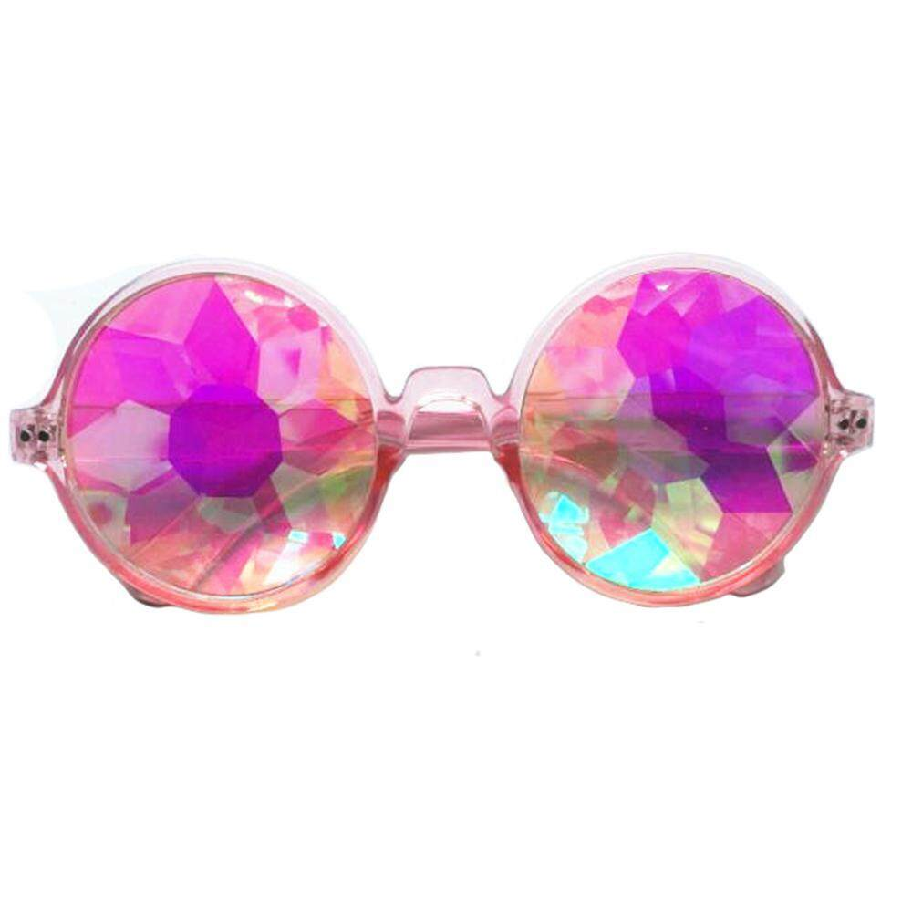 Teekeer Kaleidoscope Glasses,Rainbow Prism Sunglasses Lightweight Prism Kaleidoscope Glasses for Rave Festival(Black Frame)