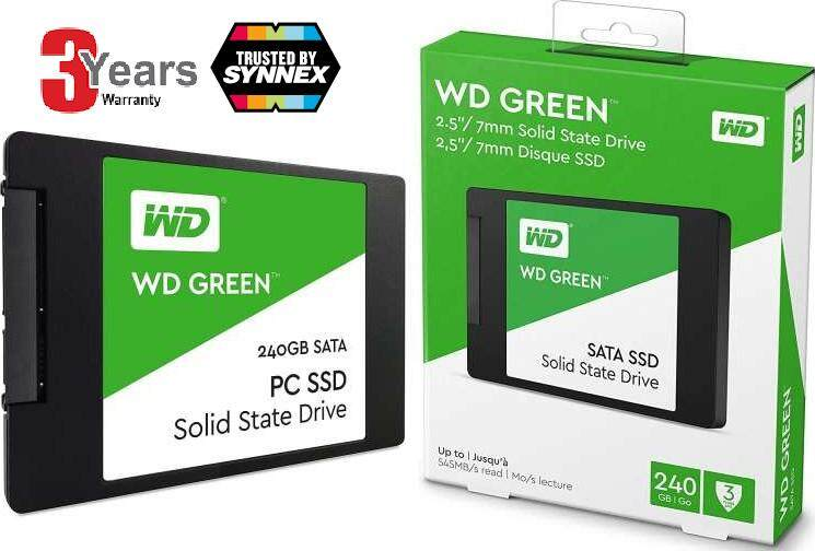 240 GB SSD (เอสเอสดี) WD GREEN (WDSS240G2G0A) : 545 MB/s / 530 MB/s SATA -3 Years Warranty