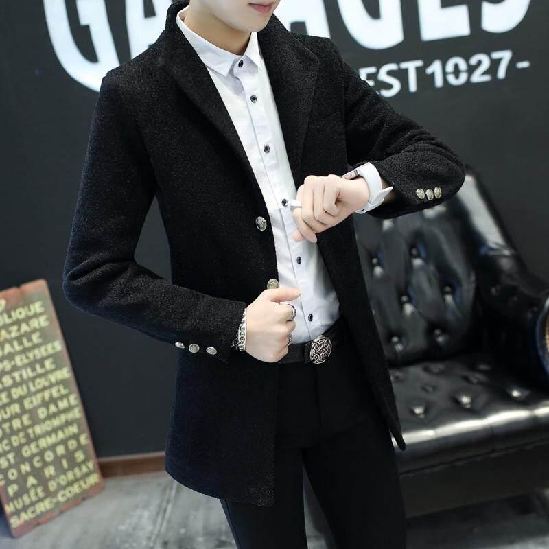 2018 model baru musim gugur dan dingin Model setengah panjang wol Mantel  Pria Tren Gaya Korea b5be2b9073