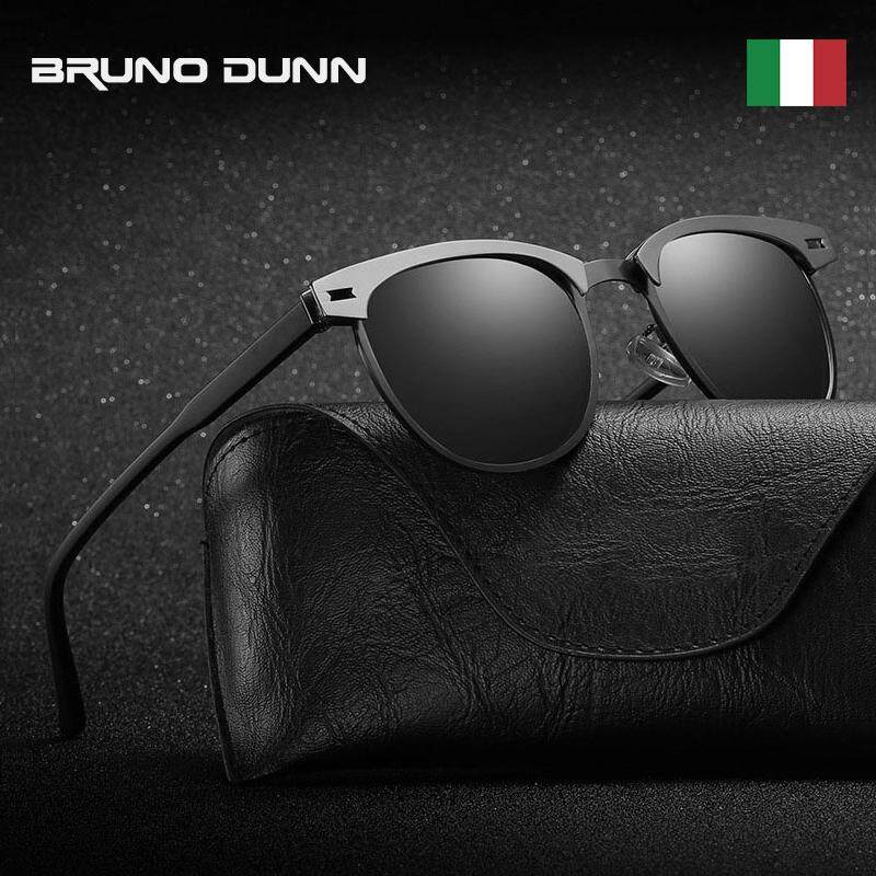 BRUNO DUNN TOP Brand designer Women MEN unisex Sunglasses 2018 HD Polarized Lens Vintage Eyewear 0911 sun glasses for male female (black frame grey lens)