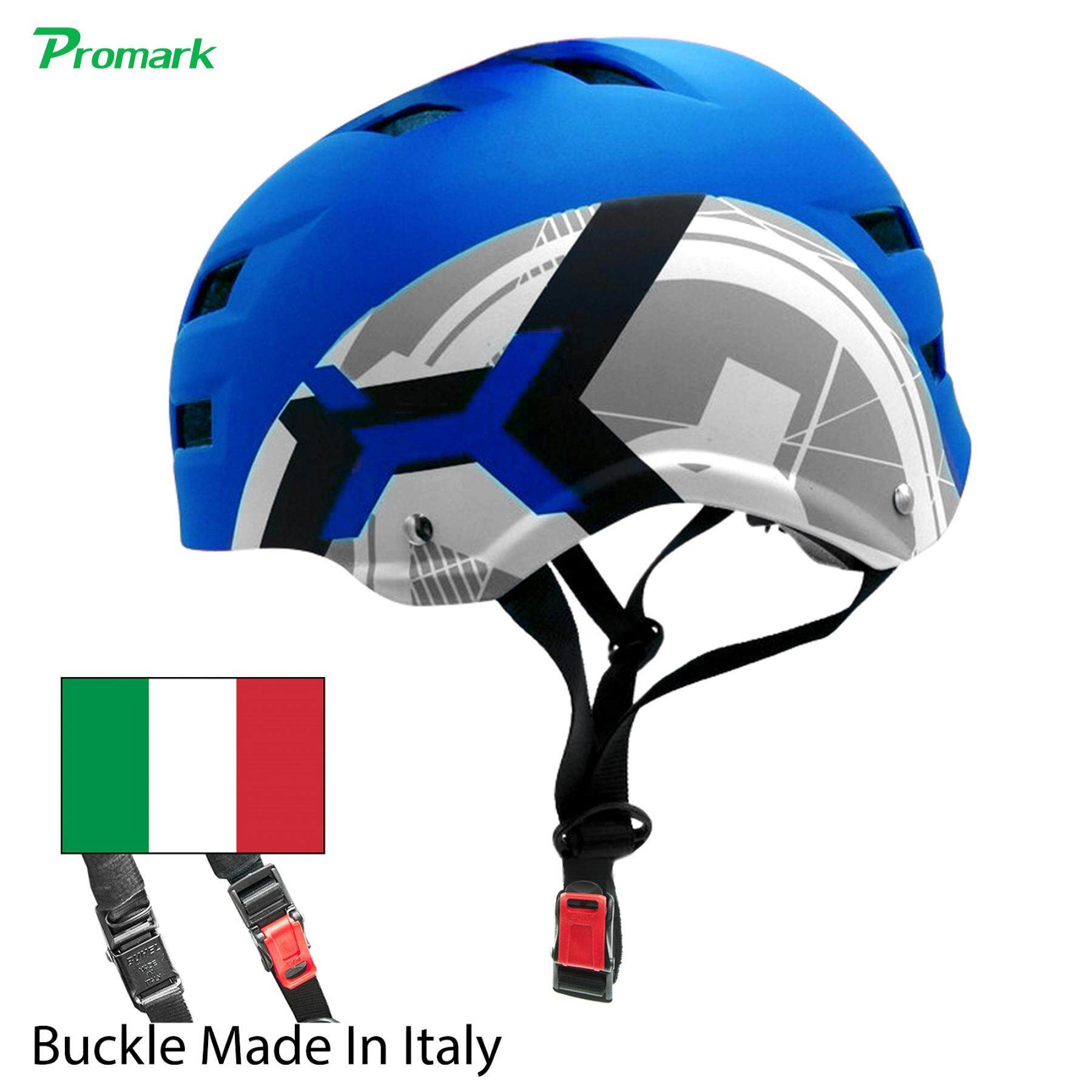 PROMARK หมวกกันน็อค Premium EXTREME SPORTS HELMET, Chin Buckle ( Made In Italy ) EPS Foam, Adjustable Size (Blue) หมวกจักรยาน Option :