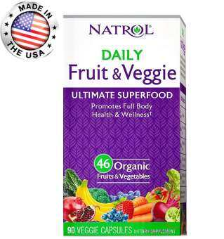 NATROL Daily Fruit & Veggie Blend 375 mg x 90 เม็ด ผลไม้ ผัก ออร์แกนิค 46 ชนิด Ultimate Organic Superfood Vegetable A C E Vitamin