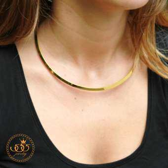 555jewelry สร้อยคอแฟชั่นทรงCollar ดีไซน์เรียบสไตล์ Minimal รุ่น MNC-N219-B -(Gold One size)  (CH16) -