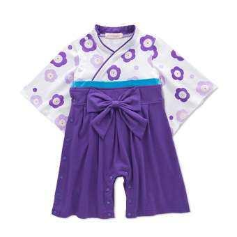 WF เด็กหญิงแฟชั่นชุดกิโมโนดอกไม้การพิมพ์ชุดเด็กมีโบว์-