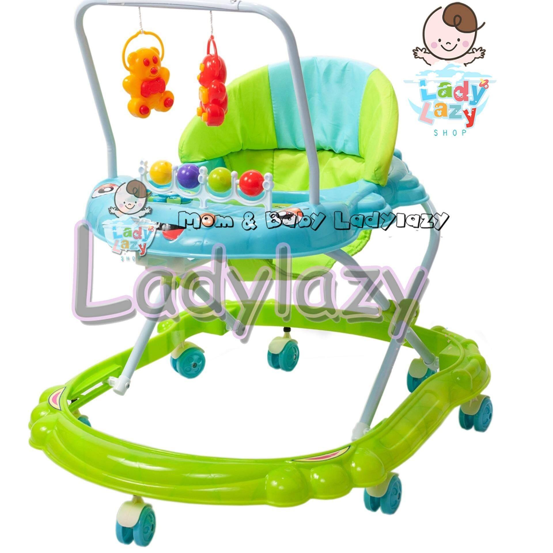 ซื้อที่ไหน ladylazy รถเด็กหัดเดินหน้าปู มีของเล่น+โมบาย+เสียงดนตรี ปรับได้ 3 ระดับ สีเขียว