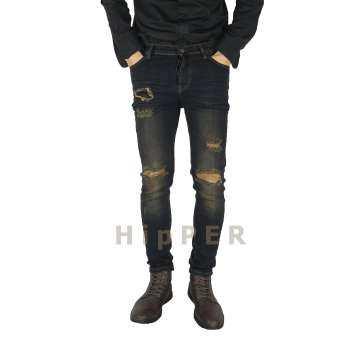 HipPER กางเกงยีนส์ชายขาเดฟ (ผ้ายีนส์ยืด) สียีนมิดไนท์ฟอกขาดเข่า Deenow Forlife Jeans Skinny fit Type-CH154-5D