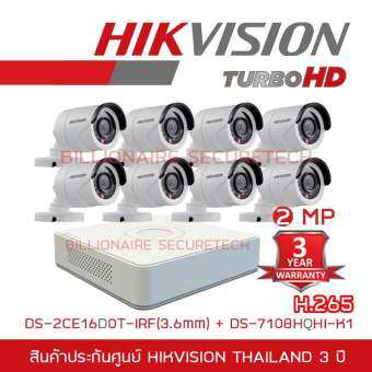 Hikvision ชุดกล้องวงจรปิด 8 ช่อง 2MP DS-7108HQHI-K1 + DS-16D0T-IRFx8 (3.6 mm)