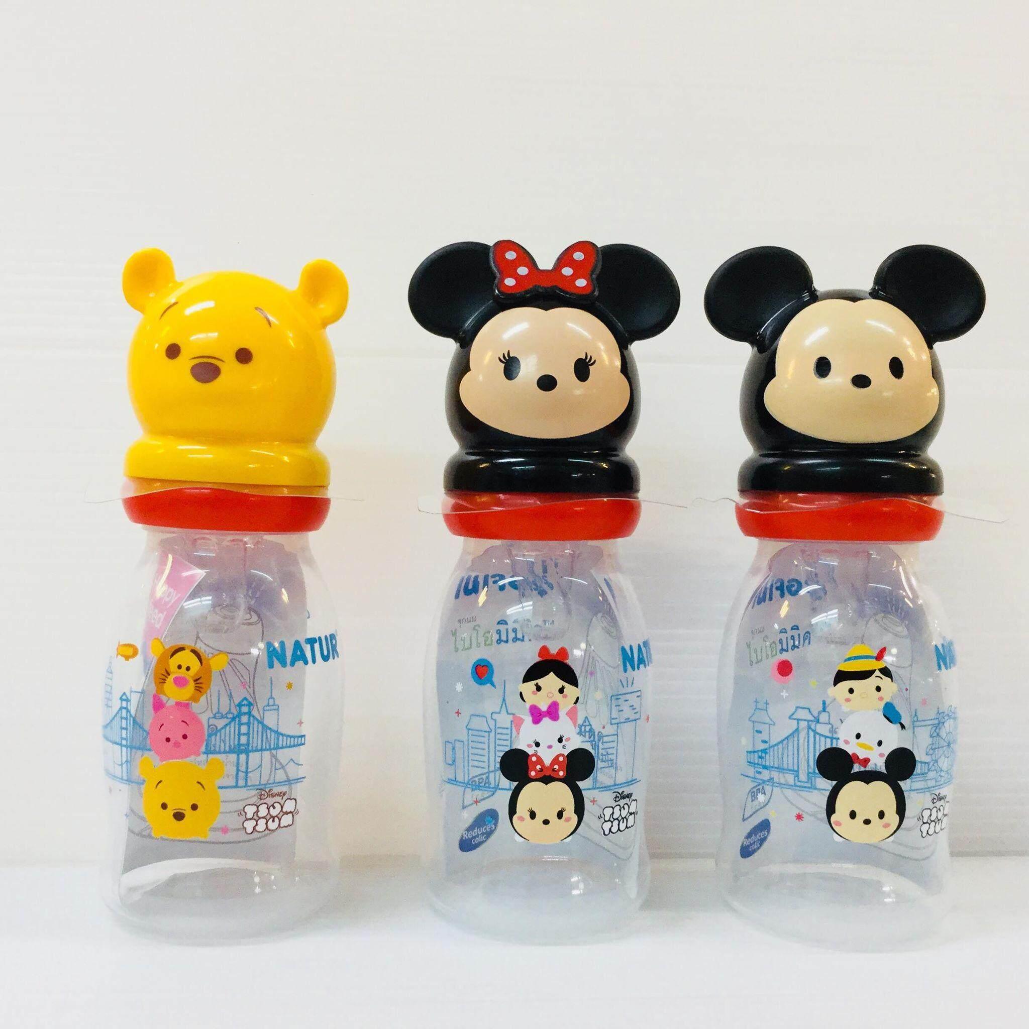 (เเพค 3 ขวด) ขวดนม UHappy 4 ออนซ์ เนเจอร์ Disney Baby TSUM TSUM จุกนมไบโอมิมิค ไซส์ M เสมือนดูดจากอกเเม่