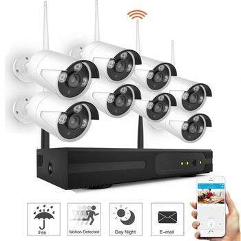 8CH IP Wifi CCTV Kit Set 8 Bullet Cameras 2MP FULLHD 1080P Latest Infrared 3.6mm Lens 8CH HD NVR Wi - Fi Wireless Free Adapter Free Camera Bracket
