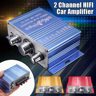【Free Shipping + Super Deal + Limited Offer】Newest Mini 2CH Hi-Fi Amplifier AMP Radio MP3 Stereo for Car Motorcycle Boat 12V Blue-