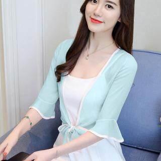 Vải Chiffon Khăn Choàng Vai Mùa Hè Chống Nắng Với Váy Bên Ngoài Áo Cardigan Nữ Áo Khoác Nhỏ Loại Mỏng Vải Viscose Kiểu Hàn Quốc Ngắn Nhiều Kiểu Phối Đồ thumbnail