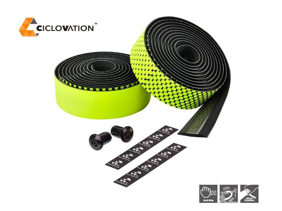 ผ้าพันแฮนด์จักรยาน Ciclovation 2.5mm Advanced BarTape with Leather Touch - Fusion Series - Bicycle Handlebar Tape Color: Yellow Black