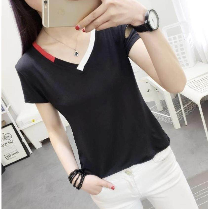 Korea Summer pure color stitching V-neck