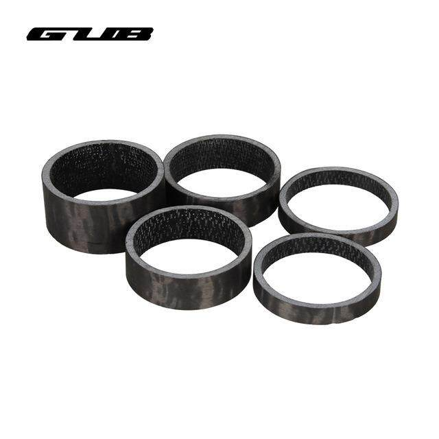"GUB TC004 Black Color 5pcs Per Lot Bicycle Spacer Full Carbon Fiber Washer 1 1/8"" 5/10/15mm"