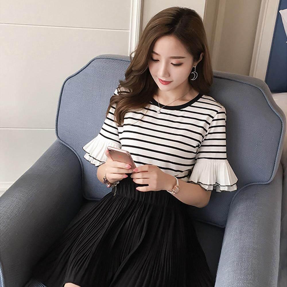 เช็คข้อมูล Charming เสื้อยืดแฟชั้นผู้หญิง แขนกระดิ่ง 2ชั้น แฟชั่นเกาหลี สวยเก๋ (สีดำ) รุ่น C842 ขายถูกๆ ส่งฟรี
