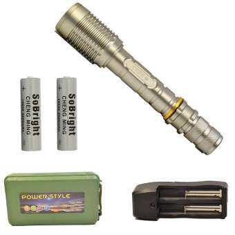 ECHO ไฟฉาย CREE XML-T6 สีเทา (แบบยาว) ถ่านชาร์จ 18650 2 ก้อน พร้อมที่ชาร์จ Flashlight Box-