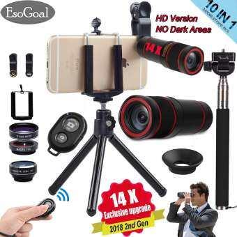 EsoGoal ขาตั้งกล้อง พร้อมรีโมทบลูทูธ หัวต่อมือถือในตัว 10 in 1 14x Zoom Telephoto Lens + Fisheye + Wide Angle + Macro Lens + Selfie Stick Monopod + Bluetooth Remote Control + Mini Tripod with Phone Holder for Mobile Phones-