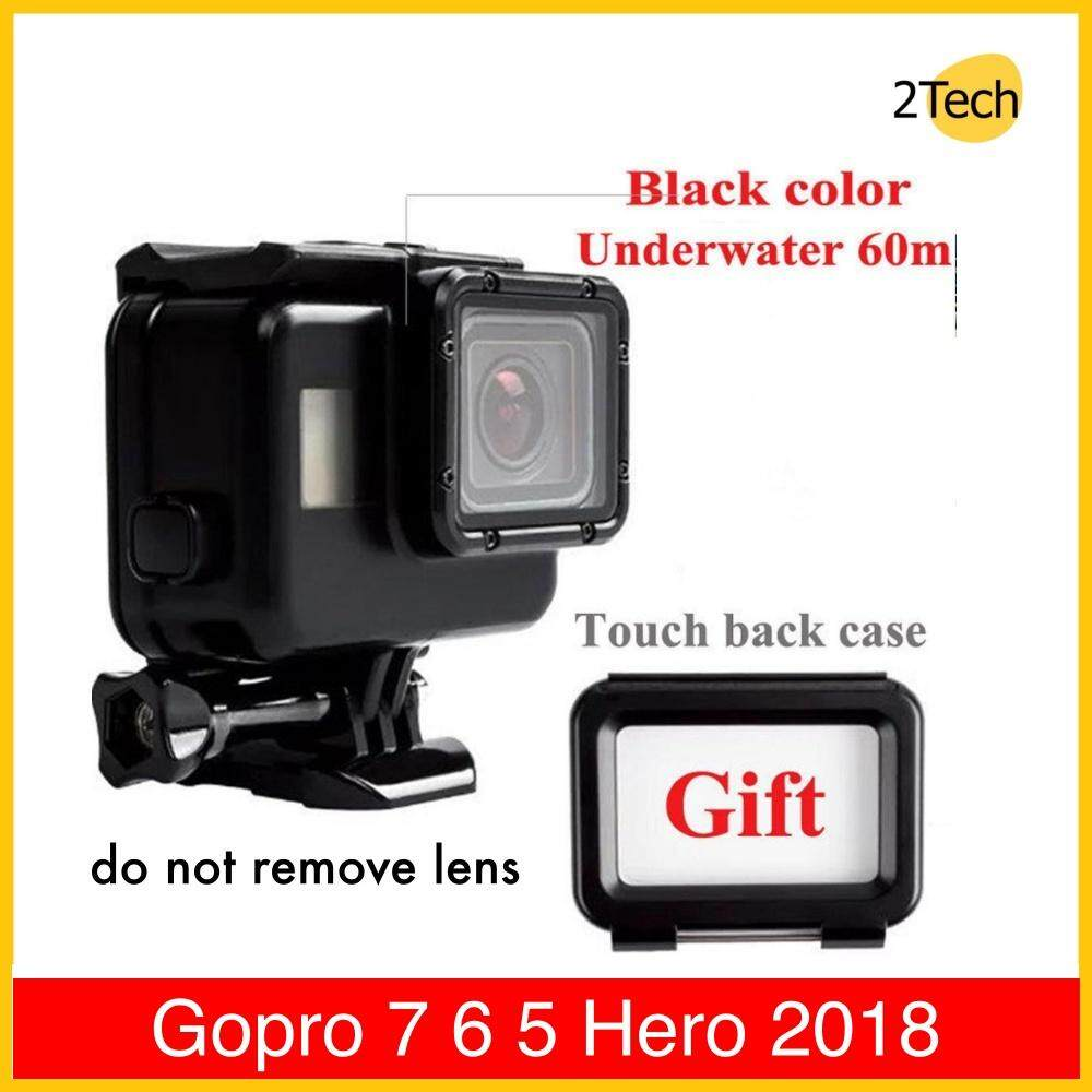 Waterproof Housing Case (Black) + Touch Screen Backdoor Cover For Gopro 7 6 5 Hero 2018 เคสกันน้ำ