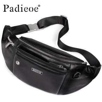 Padieoe กระเป๋าเข็มขัดหนังสำหรับชาย Bum ผู้ชายแฟชั่นกระเป๋าเดินทางสำหรับโทรศัพท์ Casual กระเป๋าคาดเอวพาดไหล่ปรับได้สายคล้องกระเป๋าคาดเอว