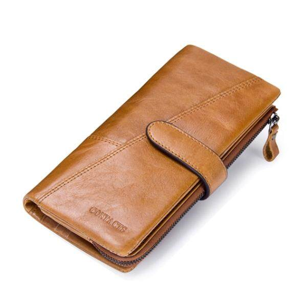 Contacts กระเป๋าสตางค์ ผู้ชาย หนังแท้ กระเป๋าเงิน กระเป๋าตัง บาง ทรงยาว Men Leather Clutch Wallet 100% Genuine Leather Men Clutch Bag vintage Wallets With Coin Purse and Card Holder กระเป๋าสตางค์ กระเป๋าสตางค์และกระเป๋าอื่นๆ กระเป๋าผู้ชาย