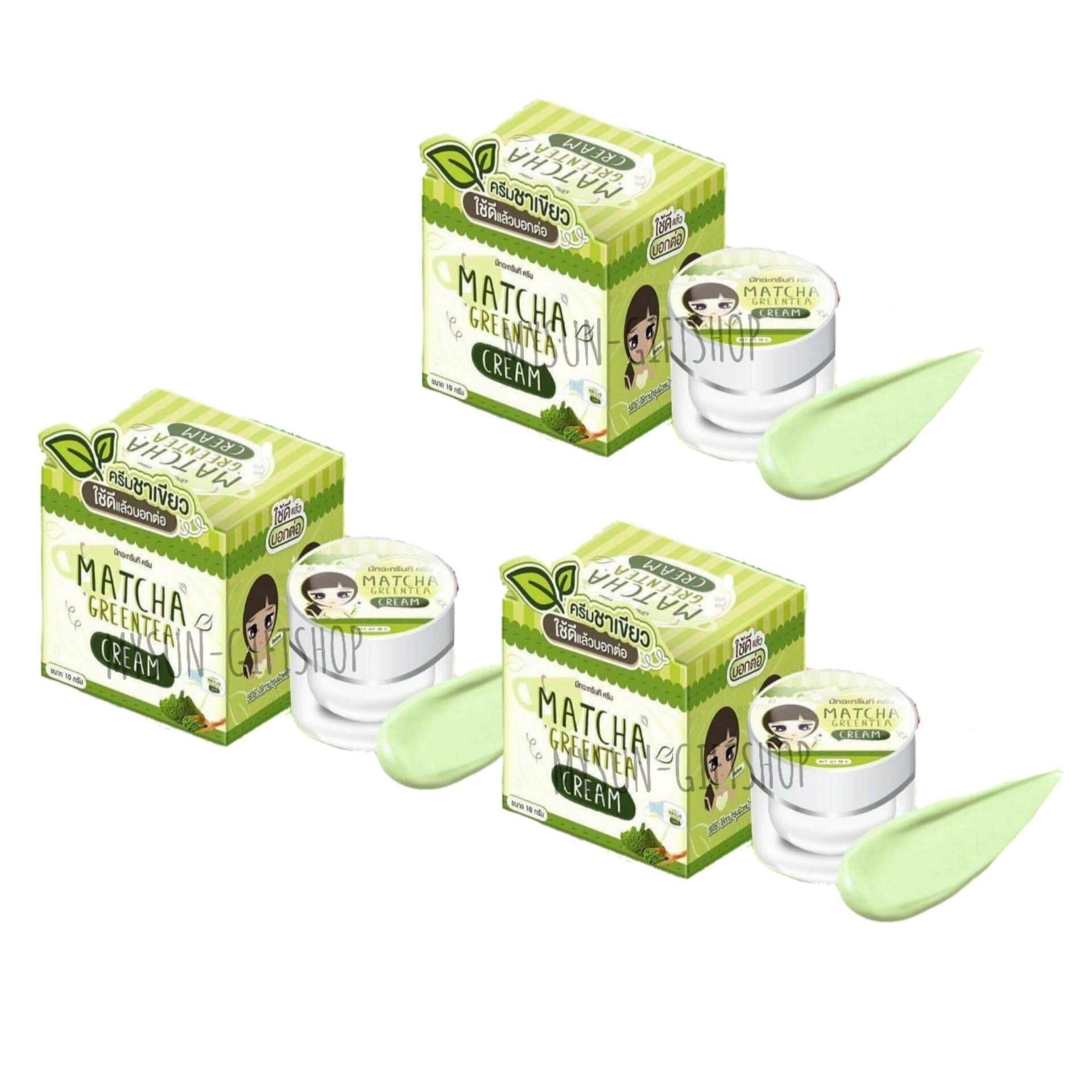 ข้อมูล Matcha Greentea Cream มัทฉะกรีนที ครีม ครีมชาเขียว หน้าขาวใส ห่างไกลสิว สุดยอดแห่งการบำรุงผิวหน้า อย่างล้ำลึก ขนาด 10 กรัม (3 กล่อง) ขาวจริง