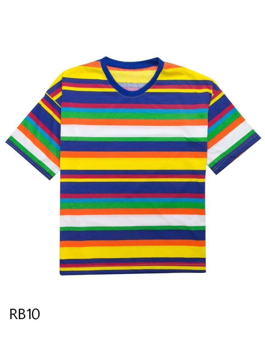 Rainbow Color T shirt 100% Cotton 100% Made in Thailand New Style T Shirt