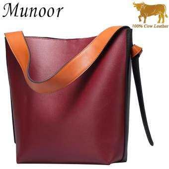 Munoor อิตาลี 100% ของแท้หนังวัวสำหรับผู้หญิง Tote กระเป๋ากระเป๋าถือแฟชั่นกระเป๋าสะพายไหล่สำหรับ TRAVEL (Burgundy) - Int'l - INTL-