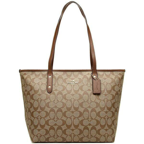F58292 COACH CITY ZIP TOTE IN SIGNATURE COATED CANVAS กระเป๋าสะพายไหล่ COACH วัสดุ PVC  กระเป๋า Tote Bag กระเป๋าผู้หญิง
