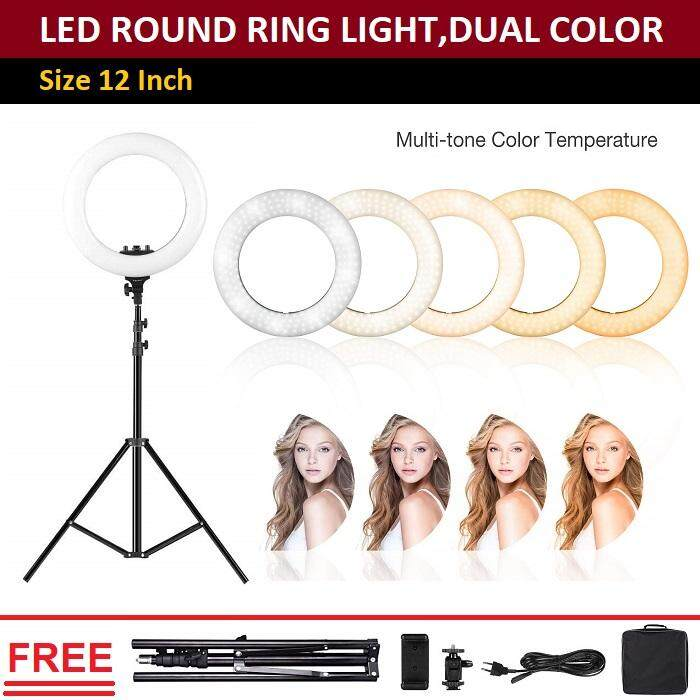 Qcase-ไฟ LED วงแหวน 12 นิ้ว -LED  Ring Light 12 inch, Continuous Lighting Kit Beauty Facial Shoot, Light Stand Tripod, Cell Phone Spring Clip Holder Makeup Photo Studio
