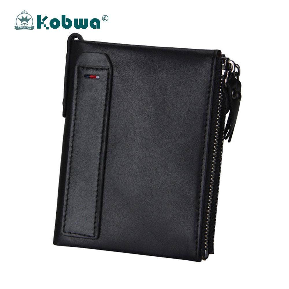 Kobwa Men RFID Blocking Wallet Genuine Leather Double Zipper Bifold Wallet With Coin Card Holder - intl