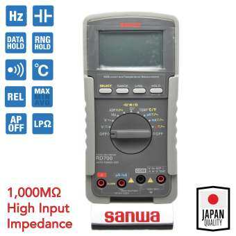 Sanwa ดิจิตอล มัลติมิเตอร์ 1,000MΩ High Input Impedance, วัดอุณหภูมิ  รุ่น RD700-
