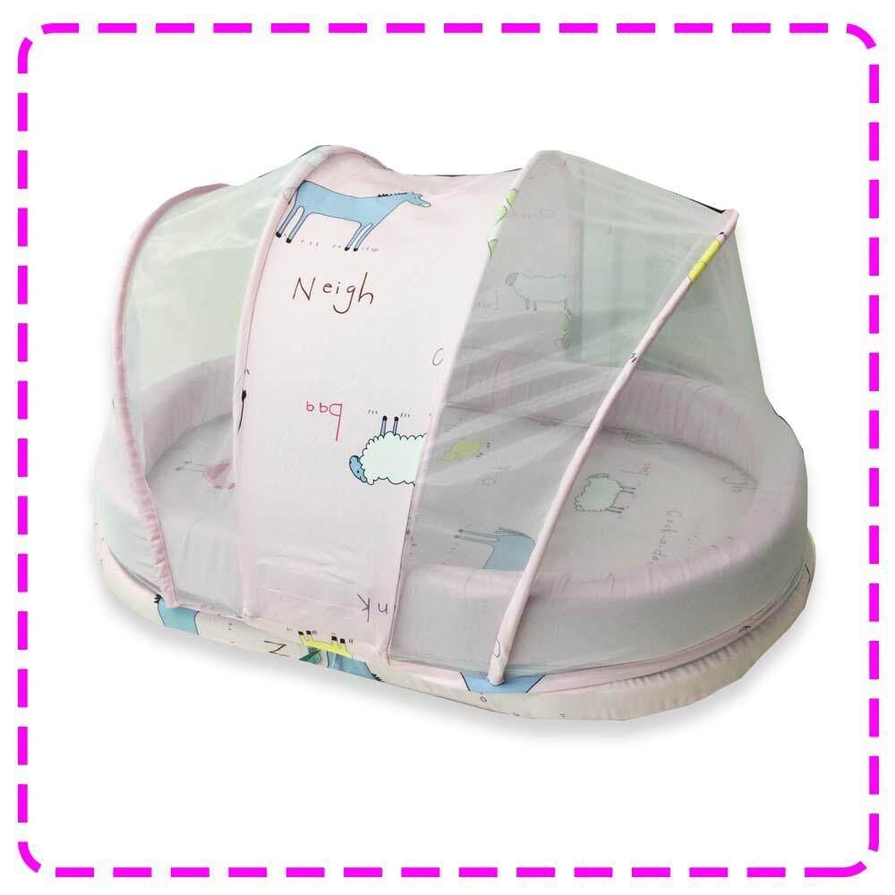 ซื้อที่ไหน Palmandpond ชุดที่นอนพร้อมมุ้ง 100% Cotton ขนาดเล็ก (แถมหมอนหลุม, หมอนข้าง)