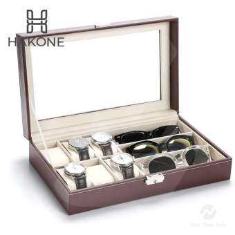 แนะนำ Cassablu กล่องนาฬิกา 6 เรือน กล่องใส่แว่นตา 3 อัน หนังสีน้ำตาล ด้านในบุกำมะหยี่ ฝากระจก พร้อมตัวล็อค กล่องใส่นาฬิกา กล่องเก็บนาฬิกาข้อมือ กล่องใส่เครื่องประดับ new step asia