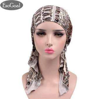 EsoGoal Women Muslim Hijab Pre Tied Bandana Turban Chemo Head Wrap Scarf Sleep Hair Cover Hat
