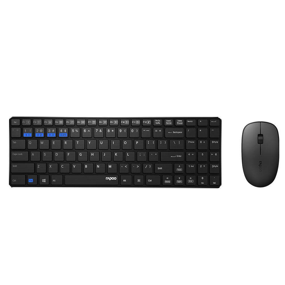 Rapoo 9300M Keyboard & Mouse Multi-mode Bluetooth 3.0/ 4.0 RF 2.4G (Black)