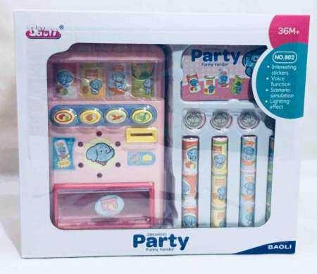 Worktoys ของเล่นเด็ก ตู้กดน้ำ มีเสียง มีไฟ หยอดเหรียญ ขายเครื่องดื่ม No.802(สีชมพู)