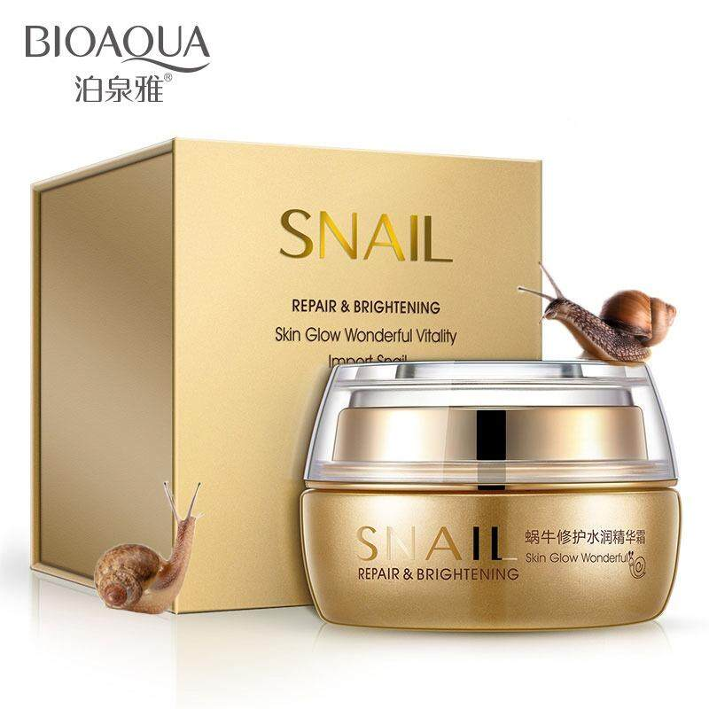 ใครเคยใช้ Bioaqua Snail Repair & Brighttening Cream 50G. 1 ชิ้น ครีมหอยทาก ไบโออะควา สูตรซ่อมแซม และช่วยให้ผิวหน้าขาวใส ครีมบำรุงหน้าที่ดีที่สุด
