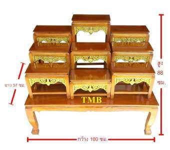 TMB โต๊ะหมู่บูชา หมู่ 9 หน้า 6 ลายเทพพนมปิดทอง หน้าโต๊ะ 1 เมตร-