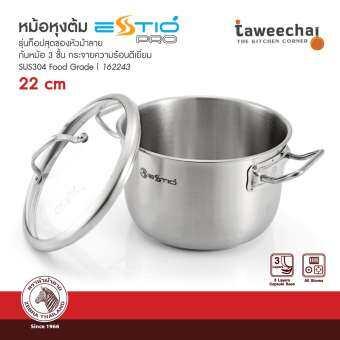 ZEBRA หม้อหุงต้ม Estio Pro 22 cm ฝาแก้ว รุ่น 162243 (Silver)-