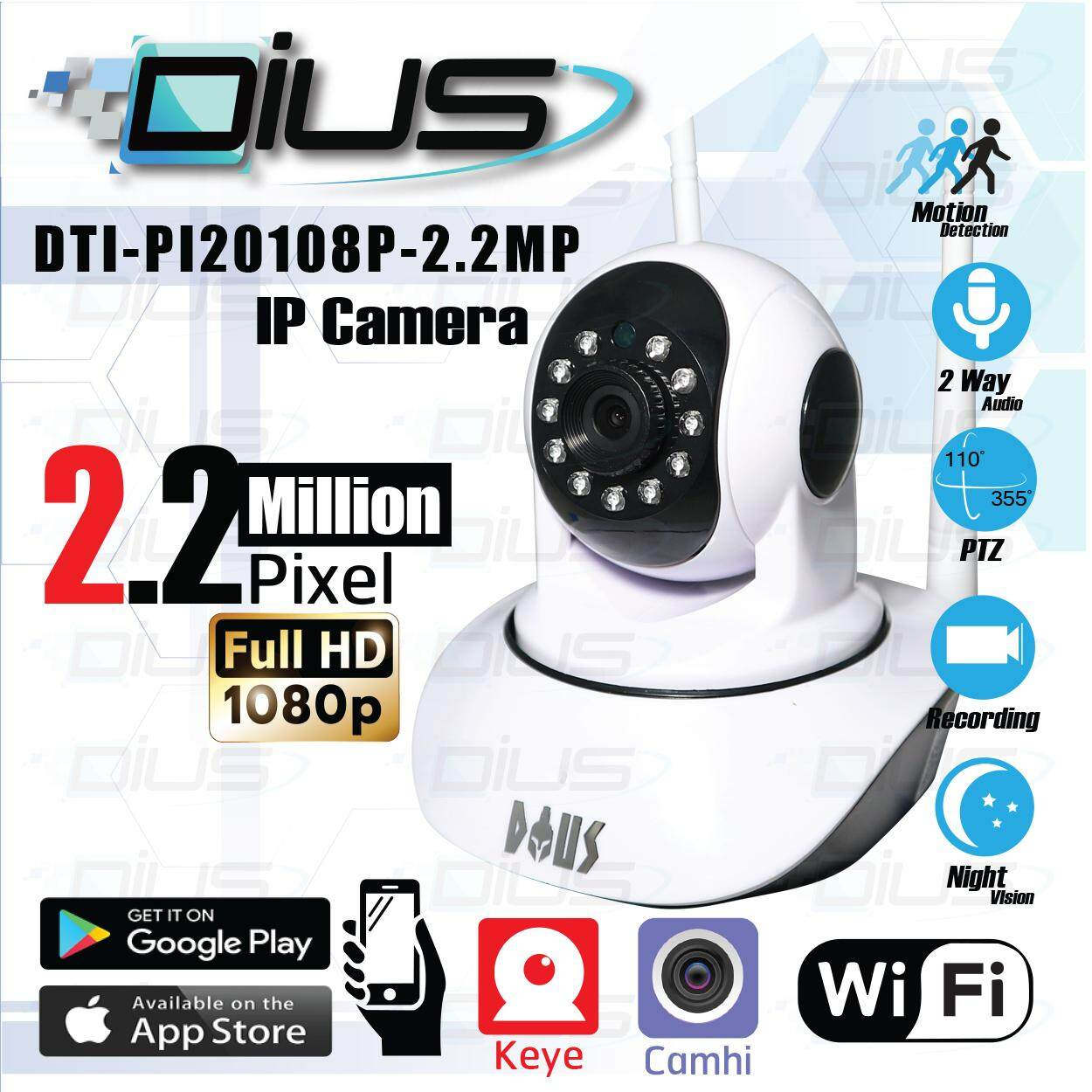 กล้องวงจรปิด Full HD 1080p Wifi / Wirless IP camera 2.2 Megepixel / Day&Night / Infrared - Night Vision / Pan,Till, Zoom / Two way Talk . 2 เสา ฟรีอะแดปเตอร์+ฟรี ( App : Keye ) and ( App : Camhi )