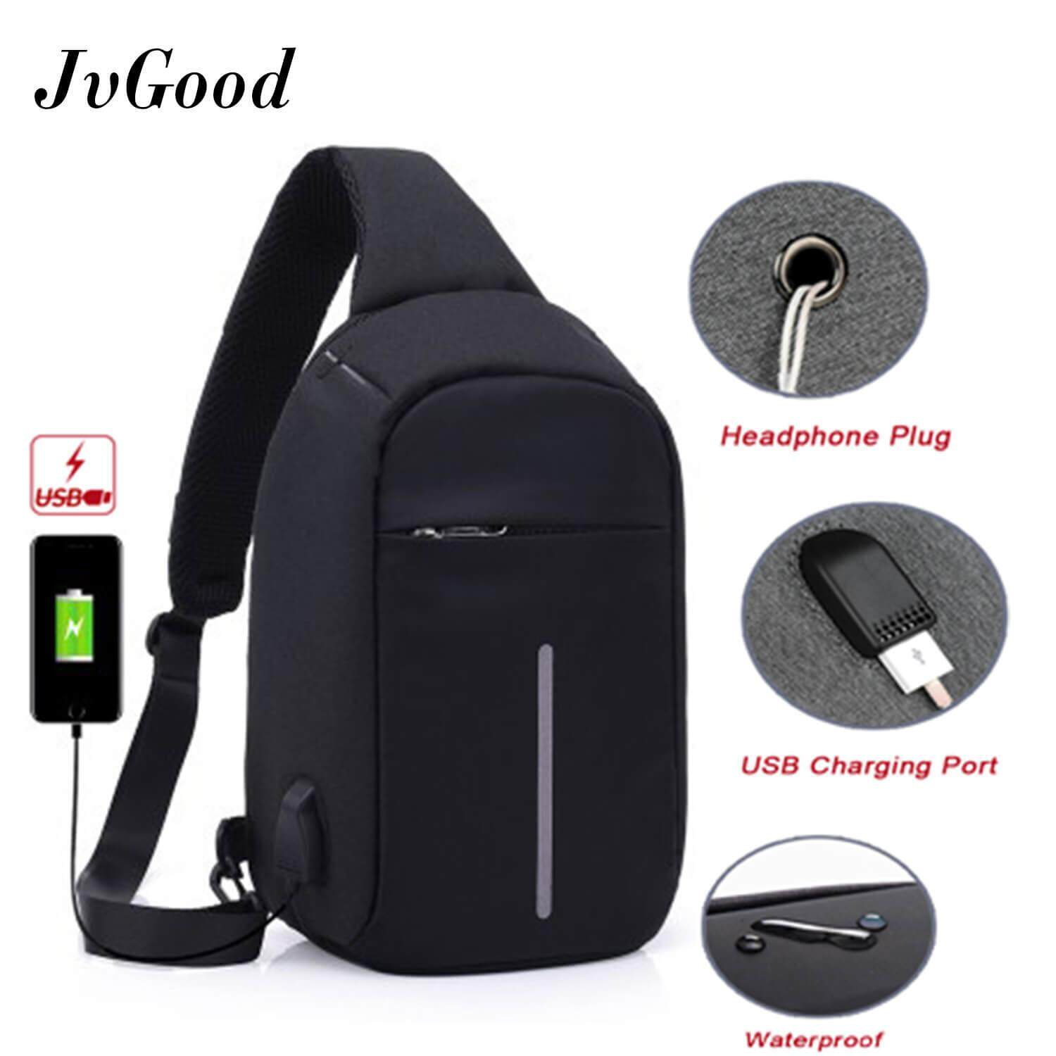 JvGood กระเป๋าสะพายพาดลำตัว USB Charging Chest Bag Crossbody Bag Anti Theft Sling bag Lightweight Casual Daypack for Men and Women
