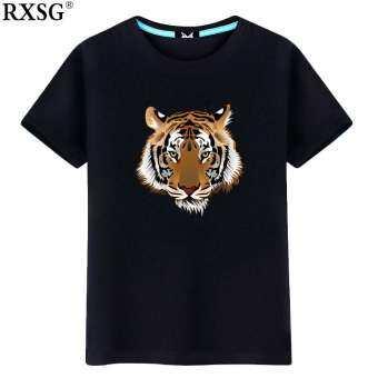 RXSG สำหรับฤดูร้อนหัวเสือเสื้อยืดแขนสั้นพิมพ์ลายผู้ชายเพิ่มขนาดไซส์ใหญ่พิเศษเสื้อเสื้อรองในฝ้าย100% ร่างกายแขนน้ำ