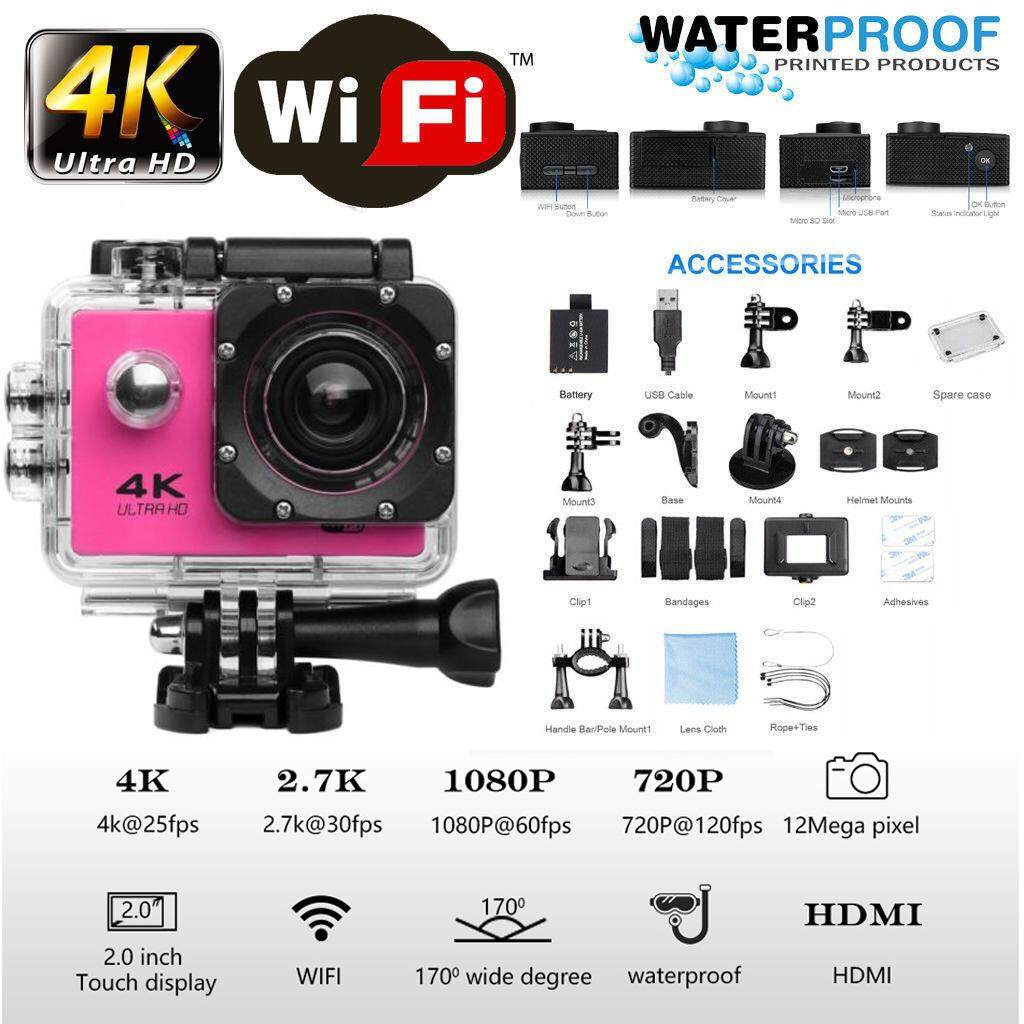 4K Wifi Sports Action Camera Recorder Waterproof กล้อง 2 Inch Ultra HD Water Action กล้องถ่ายภาพวิดีโอ DVR