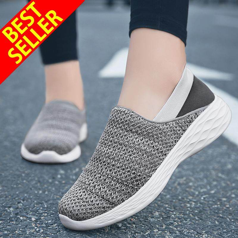 QINGSHUI Women Casual Slip-On Shoes Outdoor Sport Shoes Comfortable Athletic Flat Shoes Women Breathable Running Shoes รองเท้าโลฟเฟอร์
