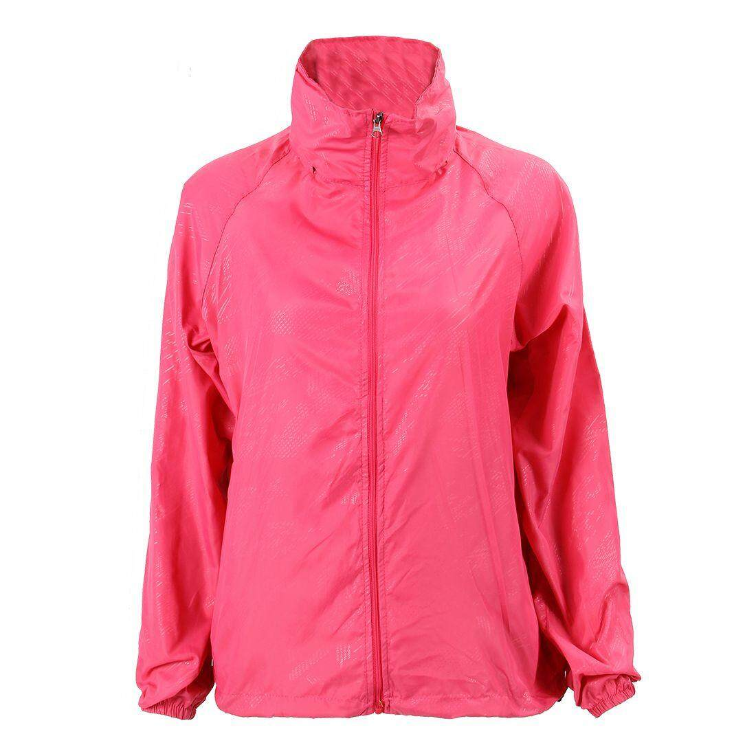 Outdoor Unisex Cycling Running Waterproof Windproof Jacket Rain Coat -Rose Red
