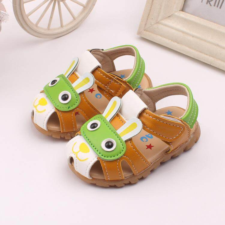 [Hot Sale] Kids Boys LED Flashing Light Close-toed Sandals Cartoon Rabbit Hollow Out Summer Shoes
